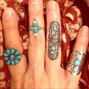 Jewelry - Chunky Boho Silver and Turquoise Ring Set